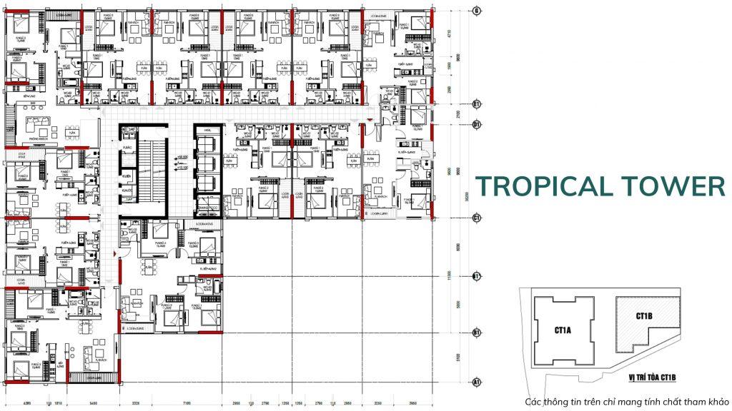 Mặt bằng thiết kế của Tropical Tower dự án Feliz Homes