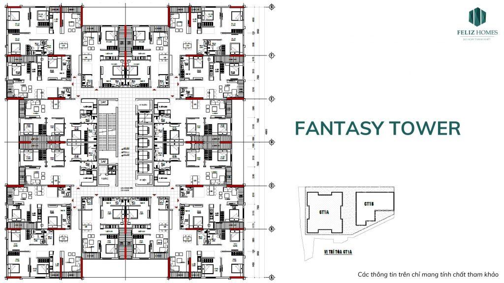 Mặt bằng thiết kế của Fantasy Tower dự án Feliz Homes